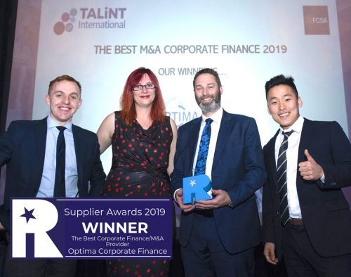 Optima Corporate Finance win Corporate Finance Advisor of the Year at the Recruitment International Supplier Awards